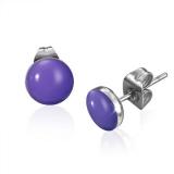 7mm Stainless Steel Purple/ Violet Circle Stud Earrings