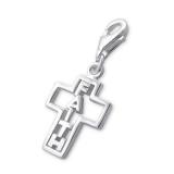 """Hopeinen keräilykoru """"Silver Faith Cross Charm With Lobster"""""""