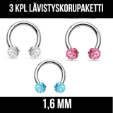 "3 Kpl Lävistyskorupaketti ""Crystal Ferido Balls 1,6 mm"""
