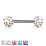 "Nännikoru ""Crystal Paved Ferido Balls 316L Surgical Steel Nipple Bar"""