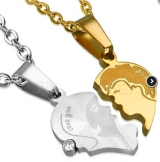 "316L Teräsriipus ""Gold/Steel Love You Man Woman First Kiss Heart Couple Pendant"" + Ketju"