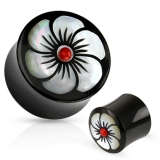 "Luu Plugi ""Flower Inlay Organic Buffalo Horn Saddle Fit Plug"""