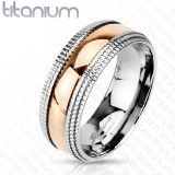 "Titaani Kihlasormus ""Rosegold Step Edge Band Ring"""