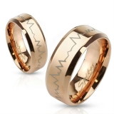 "Kirurginteräs Sormus ""Heartbeat Stainless Steel Rose Gold IP Band Ring"""
