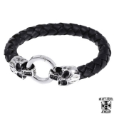 "Heavy Steel Jewelry-Ranneketju ""Leather Braided Skull Bracelet"""