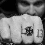 """Heavy Steel Jewelry-Sormus """"Black Stainless steel iron Cross Biker Rings"""""""