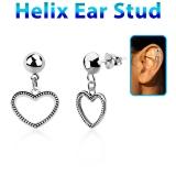 """Helix-Koru """"925 Silver Heart ear stud"""""""