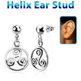 "Helix-Koru ""925 Silver Triskele ear stud"""