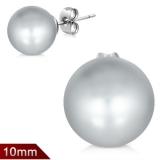 "316L Kirurginteräs ""10 mm Grey Resin Faux Pearl Bead Ball Stud Earrings"""
