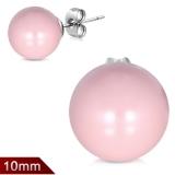 "316L Kirurginteräs ""10 mm Pink Resin Faux Pearl Bead Ball Stud Earrings"""