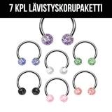 """7 Kpl Lävistyskorupaketti """"316L Surgical Steel Glitter 1,2 mm"""""""