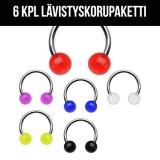 "6 Kpl Lävistyskorupaketti ""316L Surgical Steel Circular with Acrylic Balls 1,2 mm"""