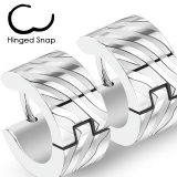 "Kirurginteräs korvakorut ""316L Surgical Steel Two Tone Hoop Earring with Stripes"""