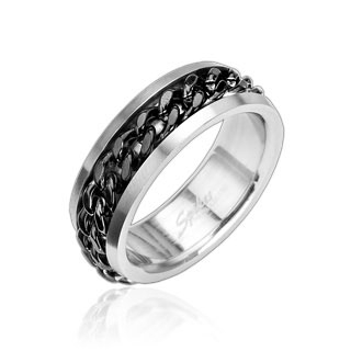 "Kirurginteräs Sormus ""Stainless Steel Ring with Spinning Center Black Chain"""
