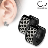 "Kirurginteräs korvakoru ""Black Earrings with Square Black Dots Sand Sparkle"""