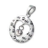 "Hopeariipus ""Silver Hope Open Heart Pendant with Cubic Zirconia"""