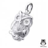 "Hopeinen Pöllöriipus ""Silver Owl Pendant with Cubic Zirconia"""