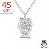 "Hopeariipus + Hopeaketju ""Plain Silver Owl Necklace"""
