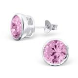 "Hopeiset Korvakorut ""Round Pink 8mm Silver Border Ear Studs with Cubic Zirconia"""