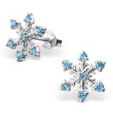 """Hopeiset Korvakorut """"Aqua Snowflake With Cubic Zirconia"""""""