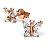 """Hopeiset Korvakorut """"Rosegold Butterfly Ear Studs"""""""