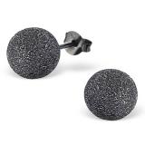 """Hopeiset Korvakorut """"Silver Ball 8mm Black Ruthenium Plated Plain Ear Studs"""""""