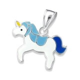 "Hopeinen Lasten Riipus ""Children's Silver Unicorn Pendant with Epoxy"""