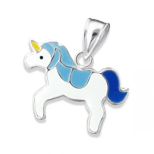 "Hopeinen Lasten Riipus ""Children's Silver Unicorn Pendant with Epoxy"""
