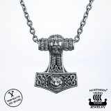 "925-Hopea Thorin Vasara-Riipus, Northern Viking Jewelry ""Odins Fox Thors Hammer"""