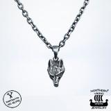 Northern Viking Jewelry® 925-Hopea Wolfhead-riipus