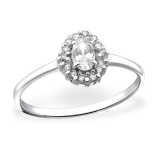 "Hopeasormus Zirkoneilla ""Oval Halo Ring with Cubic Zirconia"""