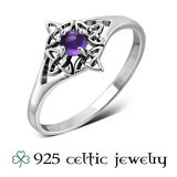 """Naisten Kelttisormus """"Amethyst Stone Celtic Knot Silver Ring"""""""