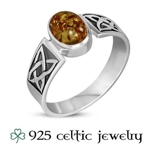 """Naisten Kelttisormus """"Celtic Amber Stone"""""""