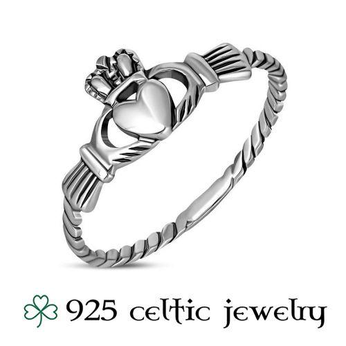 """Hopeinen Kelttisormus """"Celtic Claddagh Silver Ring"""""""