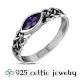 """Naisten Kelttisormus """"Marquise Amethyst Celtic Ring"""""""