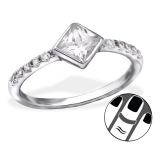 "Hopeinen Midi-Sormus ""Square Midi Ring With Cubic Zirconia"""