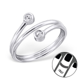 "Hopeinen Midi-Sormus ""Silver double Round Midi Ring with Crystal"""