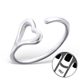 "Hopeinen Midi-Sormus ""Silver Open Heart Midi Ring"""