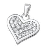 """Hopeinen Sydänriipus """"Heart Pendant with Cubic Zirconia"""""""