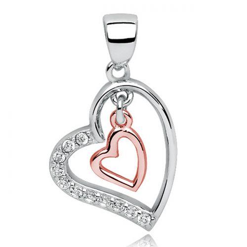 """Hopeinen Sydänriipus Hopeaketjulla """"Rosegold Heart In Heart With Zirconia"""""""