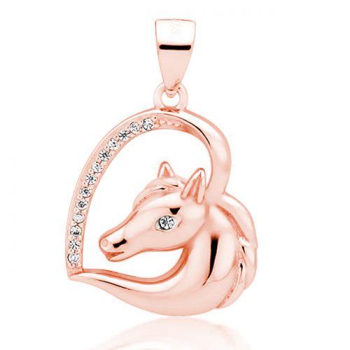 """Hopeinen Sydänriipus Hopeaketjulla """"Rosegold Horse With Zirconia"""""""