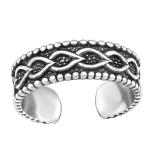 """Hopeinen Säädettävä Varvassormus """"Silver Chain Oxidized Toe Ring"""""""