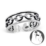 """Hopeinen Säädettävä Varvassormus """"Silver Chain Ring"""""""