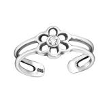 """Hopeinen Säädettävä Varvassormus """"Silver Flower Toe Ring with Crystal"""""""