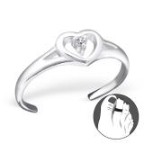 """Hopeinen Säädettävä Varvassormus """"Heart Toe Ring with Cubic Zirconia"""""""