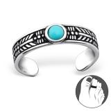"""Hopeinen Säädettävä Varvassormus """"Silver Round Toe Ring With Turquoise"""""""