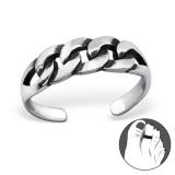 "Hopeinen Säädettävä Varvassormus ""Silver Patterned Toe Ring"""