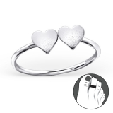 """Hopeinen Säädettävä Varvassormus """"2 hearts Toe Ring Adjustable"""""""