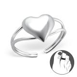 """Hopeinen Säädettävä Varvassormus """"3d heart Toe Ring Adjustable"""""""