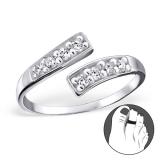 """Hopeinen Säädettävä Varvassormus """"Silver Line Toe Ring with Cubic Zirconia"""""""